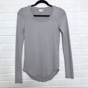 Aritzia Wilfred Free Soft Long Sleeve Top Gray S